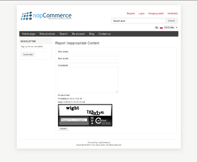 Picture of nopCommerce Inappropriate content plugin